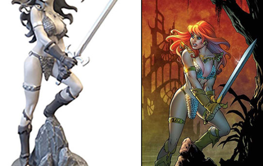 Stunning Red Sonja and Linsner's Dawn Statues Coming From Dynamite