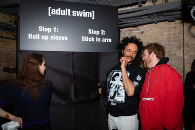 Adult Swim stars Sarah Chalke and Derrick Beckles at the Adult Swim launch event on April 3, 2019